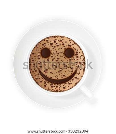 cup of coffee crema and smiley symbol illustration isolated on white background