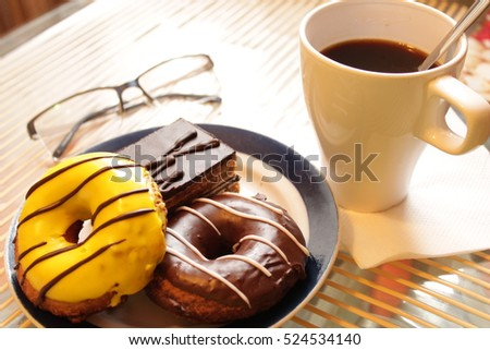 cup of coffee, donuts, chocolate cake, fresh press