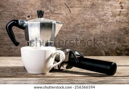 Cup of coffee ,espresso macchiato - stock photo