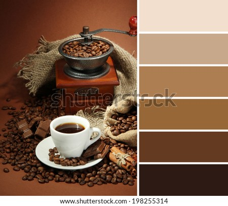 Cup of coffee, grinder, turk and coffee beans on brown background. Color palette with complimentary swatches - stock photo