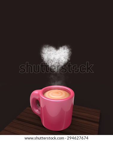Cup of coffee in 3D: Love