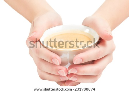 cup of coffee in palms of a woman isolated on white background