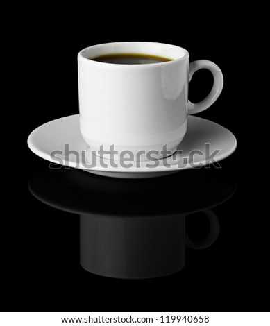 Cup of Coffee isolated Black Background - stock photo