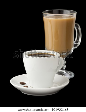 cup of coffee isolated on black - stock photo