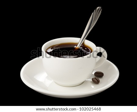 cup of coffee isolated on black background - stock photo