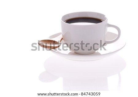 Cup of coffee isolated on the white background - stock photo