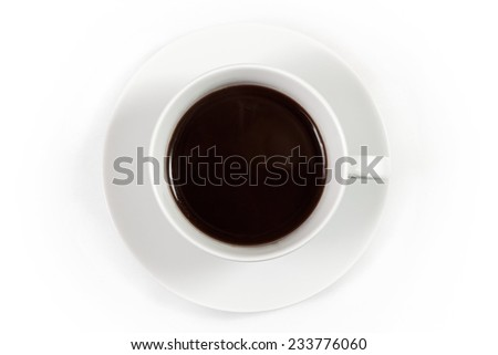 Cup of coffee isolated on white background, top view - stock photo