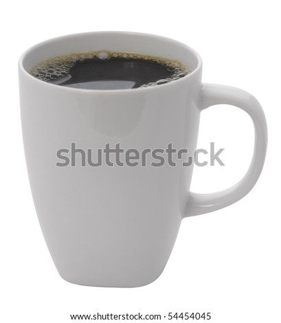 cup of coffee,isolated on white with clipping path - stock photo