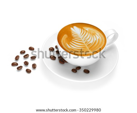 Cup of coffee latte and coffee beans isolated on white background - stock photo