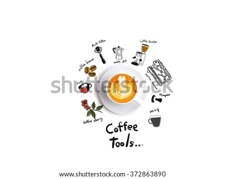 cup of coffee latte art and drawing coffee tools in white background - stock photo