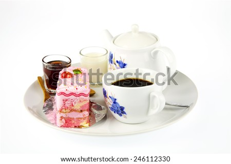 Cup of coffee, milk, honey and strawberry cake with poppy on white background