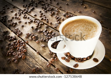 Cup of coffee on a rustic wooden table.
