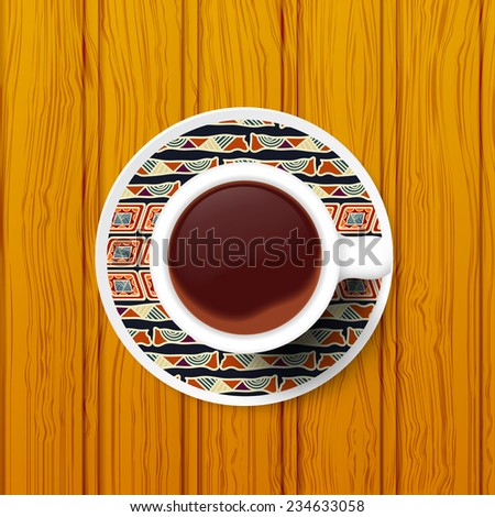 Cup of coffee on a saucer with Tribal pattern. Raster copy. - stock photo