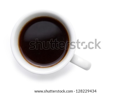 cup of coffee on a white background close-up - stock photo