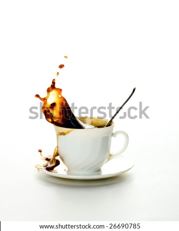 Cup of coffee on a white background. Splash in a liquid. - stock photo