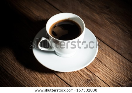 Cup of coffee on an old wooden background