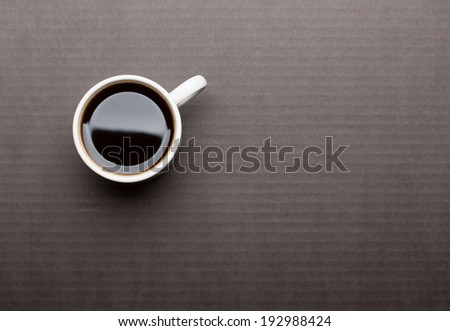 Cup of Coffee on Black Table, Top View