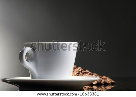 cup of coffee on gray