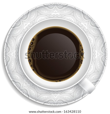 Cup of coffee on saucer. Top view. - stock photo