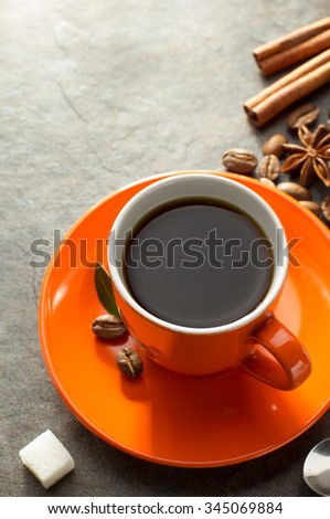 cup of coffee on table - stock photo