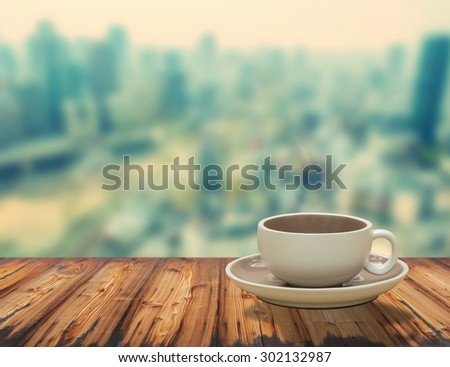 Cup of Coffee on the balcony with view on the city skyline