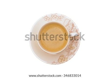 cup of coffee on the table with top perspective and white background