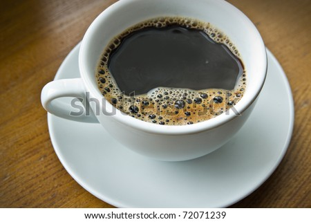 cup of coffee on the wood background