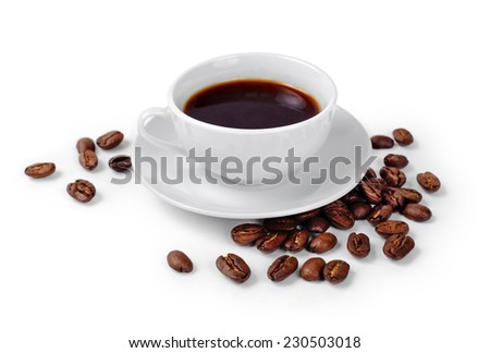 Cup of coffee on white background with coffee beans - stock photo