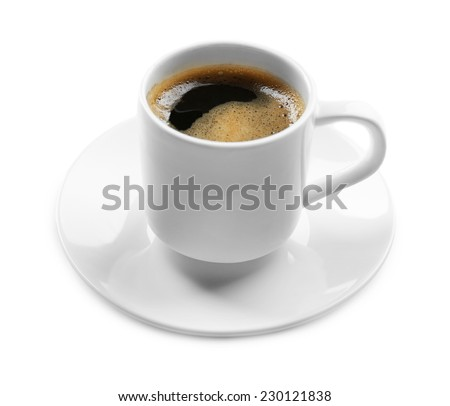 Cup of coffee on white table - stock photo