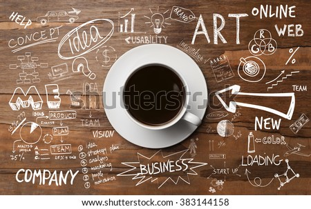Cup of coffee on wooden table, top view - stock photo