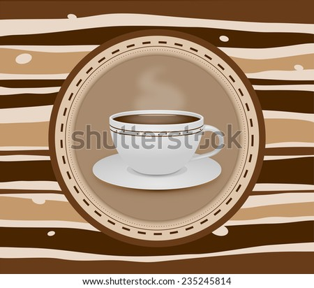 Cup of coffee stripey background - illustration - stock photo
