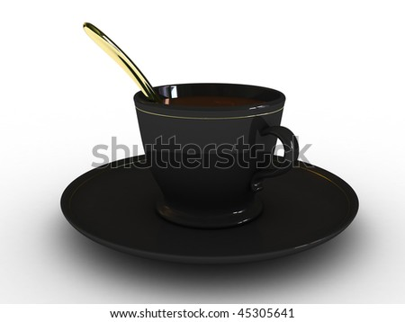 Cup of coffee, tea, with a spoon on a white background