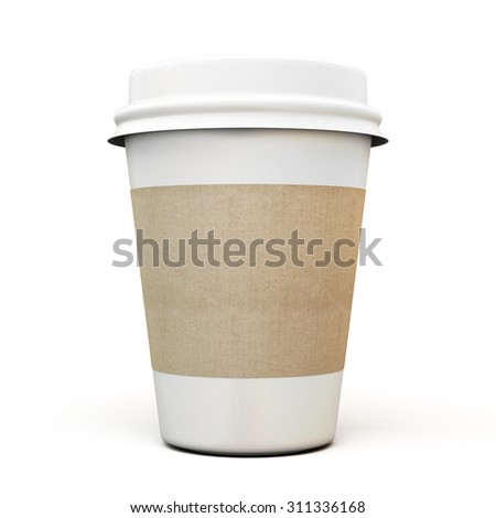 Cup of coffee with a cardboard label isolated on white background. 3d. - stock photo