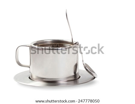 Cup of coffee with a spoon  - stock photo