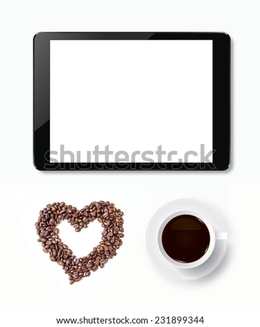 Cup of coffee with abstract heart of coffee beans and touch screen tablet. - stock photo