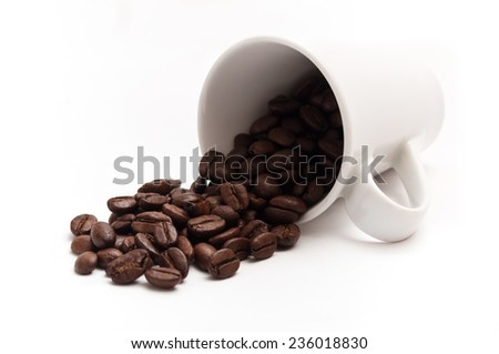 cup of coffee with beans concept