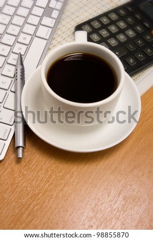 cup of coffee with business concept - stock photo