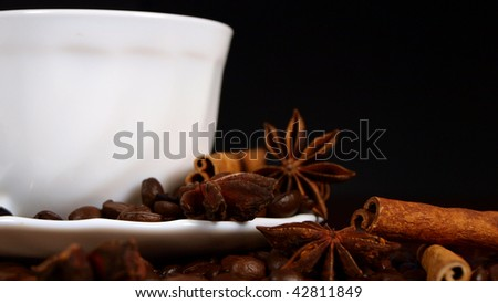 cup of coffee with cinnamon and badian