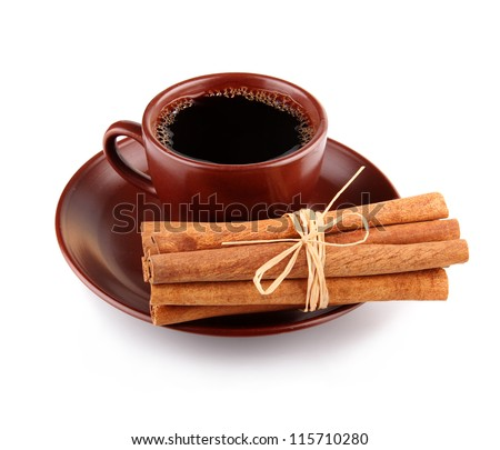 Cup of coffee with cinnamon sticks isolated on white background - stock photo