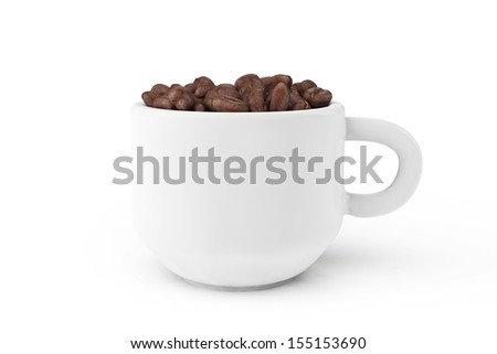 Cup of coffee with coffee bean inside on a white background - stock photo