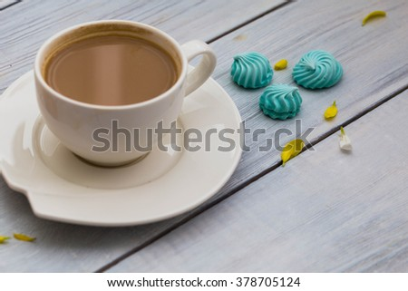 Cup of coffee with cookies - stock photo