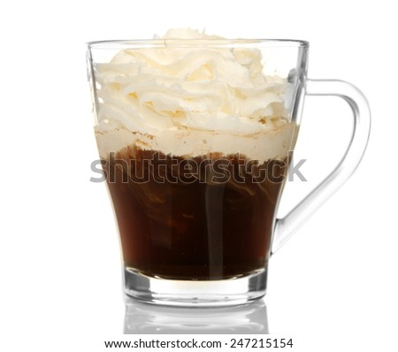 Cup of coffee with cream isolated on white