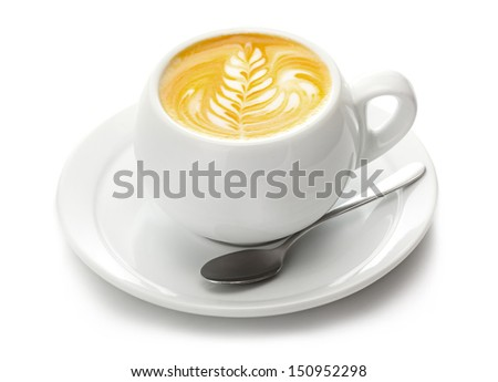 Cup of coffee with cream isolated on white background - stock photo