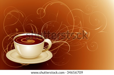 Cup of coffee with floral background