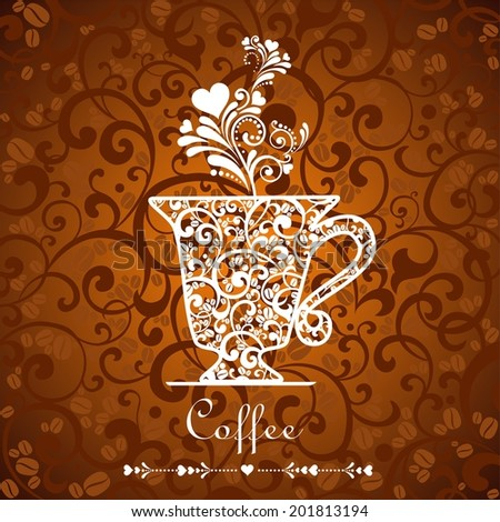 Cup of coffee with floral design elements.  illustration.