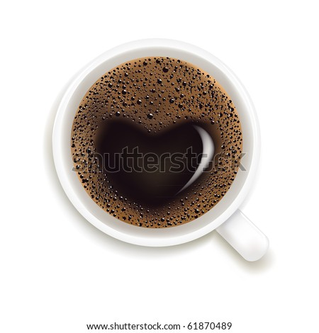 Cup Of Coffee With Heart Image Isolated On White Background