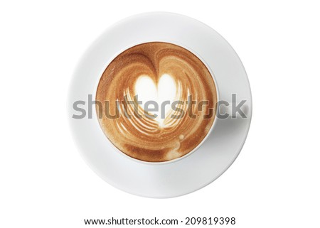 Cup of coffee with Love,heart latte art top view - stock photo