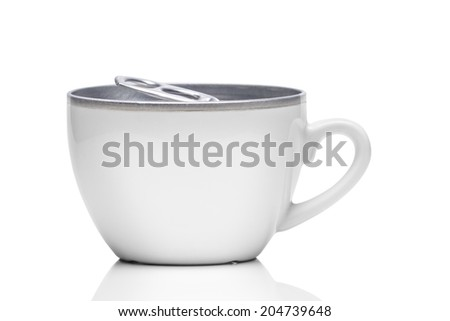 Cup of coffee with metallic tin can cover - stock photo