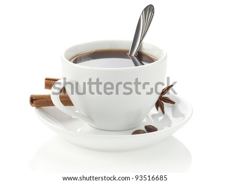 cup of coffee with roasted beans isolated on white background - stock photo