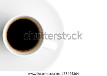 cup of coffee with space for text over the white background